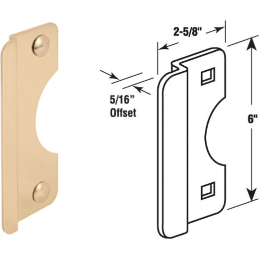 Defender Security 6 In. Polished Brass Steel Entry Door Latch Guard
