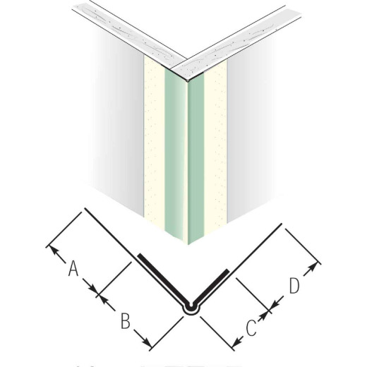 Beadex 1-7/16 In. x 9 Ft. Paper Faced Metal Outside Drywall Corner Bead