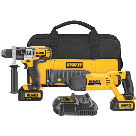 DeWalt 2-Tool 20V MAX Lithium-Ion Hammer Drill & Reciprocating Saw Cordless Tool Combo Kit