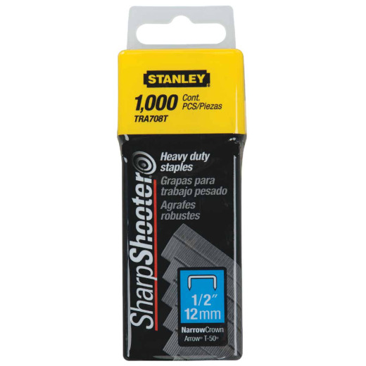 Stanley SharpShooter Heavy-Duty Narrow Crown Staple, 1/2 In. (1000-Pack)