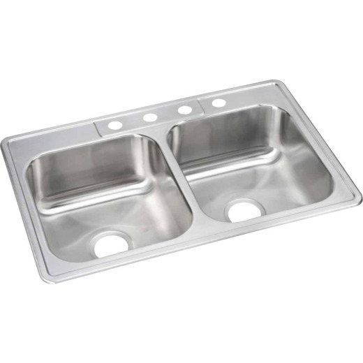 Elkay Double Bowl 33 In. x 22 In. x 8 In. Deep Satin Stainless Steel Kitchen Sink