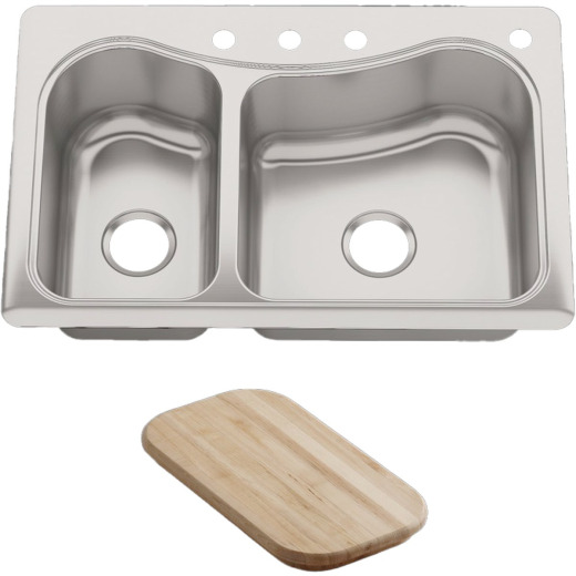 Kohler Staccato Double Bowl 33 In. x 22 In. x 8 In. Deep Stainless Steel Kitchen Sink w/Cutting Board