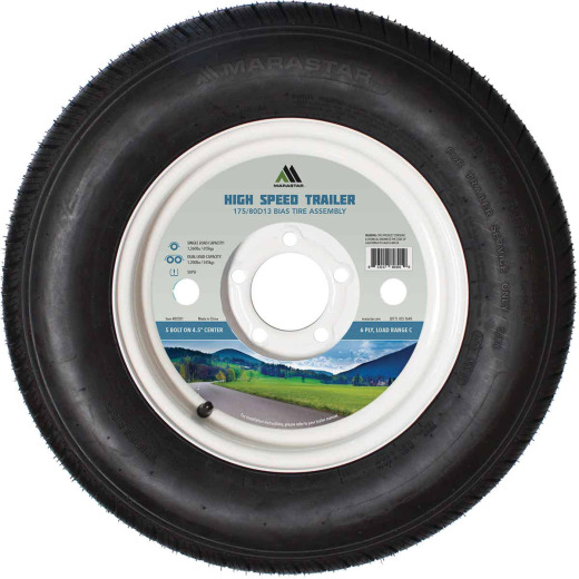Marastar 175/80D13 Load Range C 5-Lug Trailer Tire and Wheel