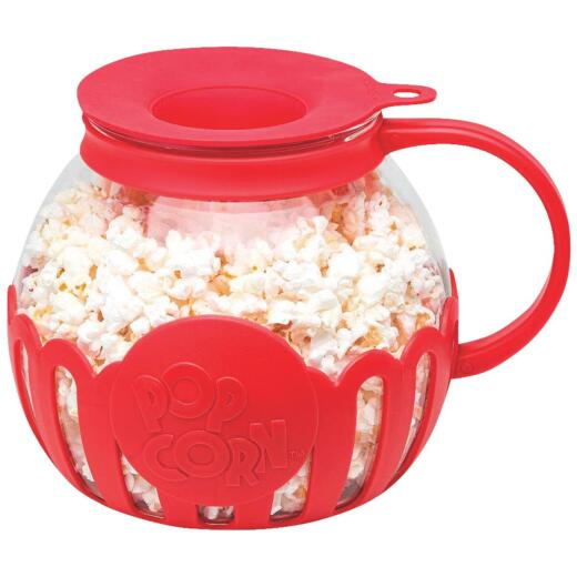 Micro-Pop 3 Qt. Glass Popcorn Popper For Microwave Use with Protective Holder and Dual Function Silicone Lid - Red