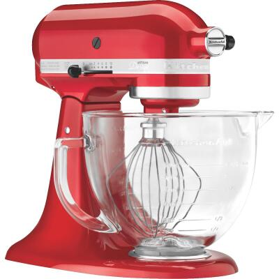 KitchenAid Artisan Series 10-Speed Red Stand Mixer With Glass Bowl