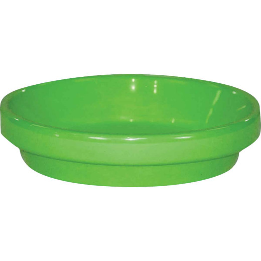 Ceramo Spring Fever 4 In. Bright Green Clay Flower Pot Saucer