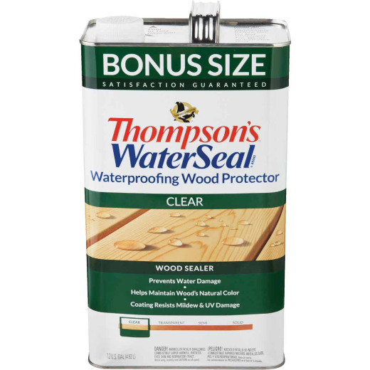Thompsons WaterSeal Waterproofing VOC Compliant Wood Protector, Clear, 1.2 Gal.